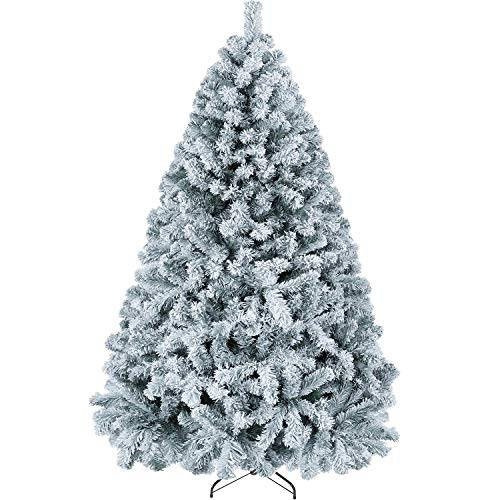 YAHEETECH 6ft Premium Unlit Snow Flocked Hinged Artificial Christmas Pine Full Tree with 820 Branch Snow Tips and Metal Stand