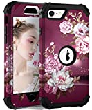 Hocase iPhone SE 2020 Case, Heavy Duty Shockproof Protection Hard Plastic+Silicone Rubber Hybrid Protective Case for iPhone SE 2nd Generation (4.7-inch Display) 2020 - Royal Purple Flowers