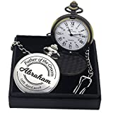 Personalised Laser Engraved Polished Pocket Watch. Custom Fob Watch - Present for Best Man, Usher, Groom, Wedding Favours, Birthday, Valentines, Graduation, Fathers Day Present - Free Box