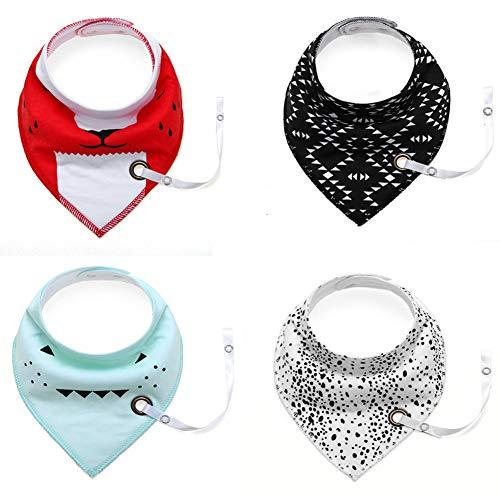 Wonder 4 Pack Cute Triangle Cotton Bandana Baby baberos con cadena de chupete, para niños niñas dentición alimentación recién nacidos bebés niños pequeños regalo (D)