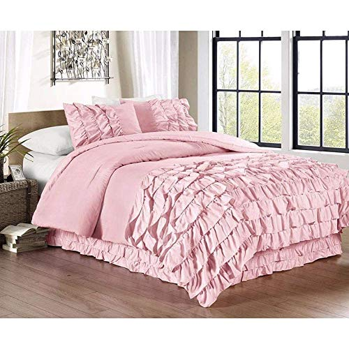 ZYCH Quilts Bedding Princess Romantic Style Solid Color Multi-Layer Ruffle Design Ultra Soft Hypoallergenic Quilt Dust-proof Duvet Covers Set Bedspreads (Color : C - 135x200cm)