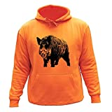 Sudadera con Capucha para Cazadores, Verraco, Caza Ideas Regalos (XL, Orange,30186)