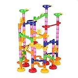 Tnfeeon Set de Marble Run, Marble Maze Race Game Set Diversión Educativa Stem Construcción de Juguetes de construcción Regalo para niño niña 4 5 6 7 8 9+(105pcs+30 Glass Marbles)