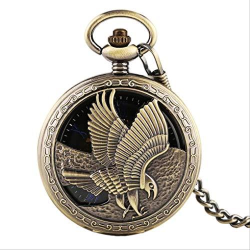 KUANDARGG Reloj de Bolsillo con Cadena de 30 cm, Reloj de Bolsillo mecánico con diseño de águila y Medio Cazador de Calidad, Reloj Colgante de Cuerda Manual con Pantalla de números Romanos, Bronze