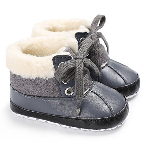 BENHERO Baby Boys Girls Premium Soft Sole Anti-Slip Warm Winter Infant Prewalker Toddler Snow Boots (0-6 Months M US Infant), H-Grey