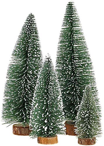 Mini Weihnachts Baum, 4 stück Miniatur Künstlicher Weihnachtsbaum, Sisal-Schnee Frostbäume mit Holzbasen für Tischdeko, DIY, Schaufenster, Figuren 10/15/20/25 cm (Grün)