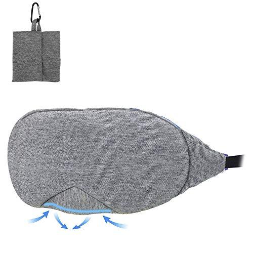 IWILCS Schlafbrille Herren Frauen, Augenmaske Schlafbrille, 3D Schlafmaske Damen und Herren, für Reisen Schichtarbeit und Nickerchen Verstellbare Premium Augenbinde,Dunkelgrau