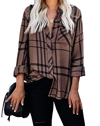 Imily Bela Damen Bluse Kariert Langarm Karo Hemd mit Brusttasche Knopf Blusenshirt Boyfriend Tunika , Coffee , XL