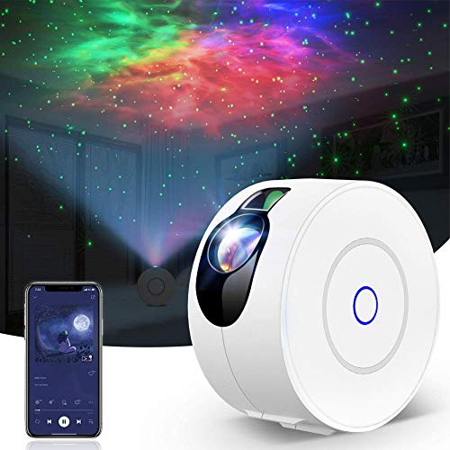 Alexa & Google Home Smart WiFi & Bluetooth LED Star & Galaxy Cloud Light Projector for Bedroom Night Light Living Room App Control & Timer