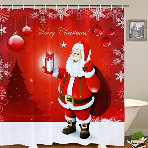 BLEUM CADE Merry Christmas Duschvorhang mit 12 Haken Weihnachtsmann Schnee Rot Kugeln Duschvorhang Set Wasserdicht Langlebig Badezimmer Duschvorhang für Weihnachten