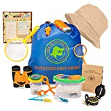 Kids Outdoor Adventure Nature Explorer & Bug Catching Kit w/Binoculars, Magnifying Glass, Compass, Camping & Hiking Gear-Insect Catcher & Collection Set-Butterfly Net-Science Gift Boys & Girls 3-12