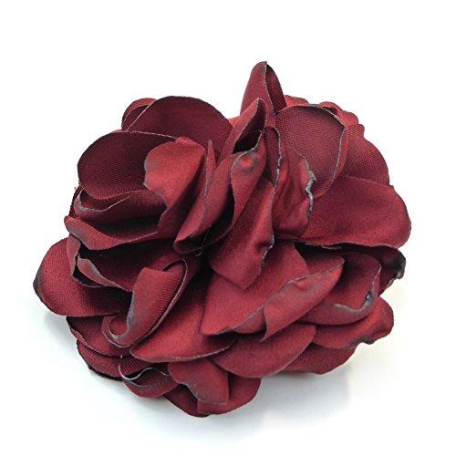 rougecaramel - Accessoires cheveux - Broche pince fleur en tissu 7.5cm bordeaux