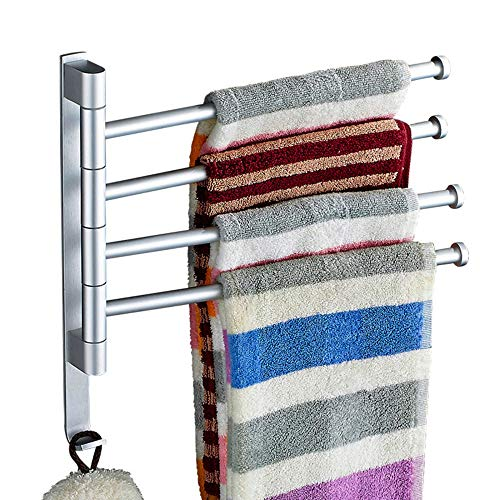 toalleros sin Agujeros Toallero Autoadhesivo de Acero Inoxidable Colgador Toalla de Pared Giratorio 180 ° para baño Cocina-4 Brazos