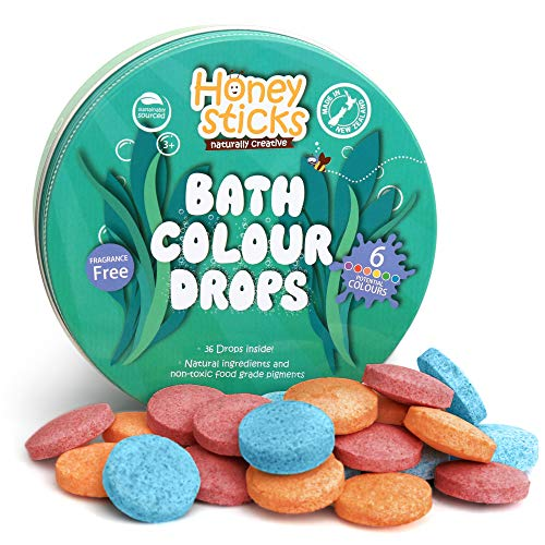 Honeysticks All Natural Bath Color Tablets for Kids - Non Toxic Bath Color Drops Made with Food Grade Ingredients - Fragrance Free - Fizzy, Brightly Colored Bathtime Fun, Great Gift Idea - 36 Drops