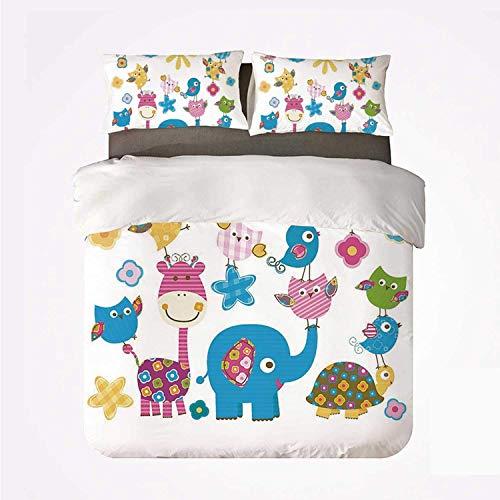 Zozun Duvet Cover Set Nursery Warm 3 Bedding Set,Cute Animals Cartoon Style Happy Dancing Animals Elephant Birds Owls for Room