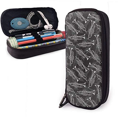 Schwarz-Weiß-Skizze Trompeten PU-Leder-Federmäppchen mit doppeltem Reißverschluss, Schulbüro Großraum Briefpapier Box Pen Pouch