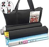 Mose Cafolo~ American Mahjong Set - Black Soft Bag - 166 White Engraved Tiles, 4 All-in-One Rack/Pushers Western Mah Jongg Game Set