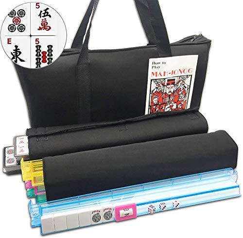 Mose Cafolo~ American Mahjong Set - Red Burgundy Soft Bag - 166 White Engraved Tiles, 4 All-in-One Rack/Pushers Western Mah Jongg Game Set (Black Soft Bag)