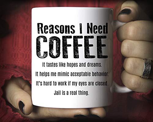 Reasons I Need Taza de café, taza divertida de 325 ml M216