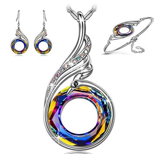 PAPAO El Conjunto de aretes, Anillos, Colgantes Nirvana de Phoenix Mujeres Collar, diseño Original simbolizando Suerte por Suerte por Suerte,A