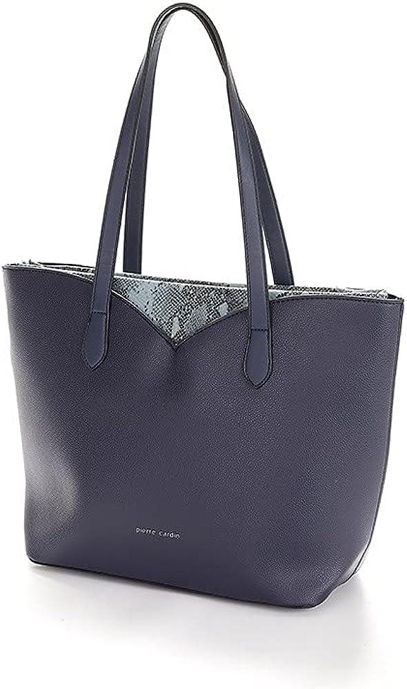 Pierre cardin borsa per donna con marchio in metallo e contrasti in pitone in ecopelle