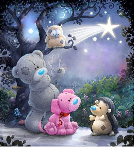 5D Diamant Malen Kit von Malen nach Zahlen,5D Diamant Painting Disney Teddy Bear Tiere DIY Kristall Strass Kreuzstich Stickerei Arts Craft Bild Vorräte für Home Wand-Decor 30x 30cm