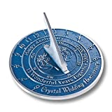 The Metal Foundry 15th Crystal 2021 Wedding Recycled Metal Anniversary Sundial Gift Idea is A Great Present for Him, Her, Parents, Grandparents Or Couple On 15 Years of Marriage