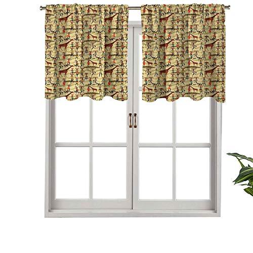 Hiiiman Cenefa de ventana de privacidad interior, diseño de silueta de mujer con coloridas macetas de ciervo oriental, juego de 2, 137 x 91 cm para puerta corredera de patio o comedor