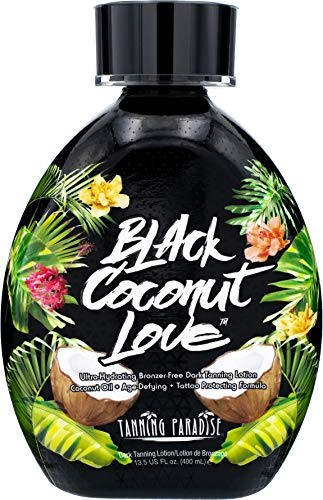 Tanning Paradise Black Coconut Love Tanning Lotion | Coconut Oil | Age-Defying | Tattoo Protecting Formula | Ultra Hydrating Dark Tanning Lotion, 13.5oz
