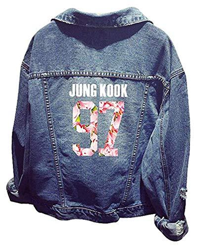 Formesy Damen Kpop BTS Jeansjacke Bangtan Jungen Langarm Jeans Mantel Jin Suga J-Hoffnung RM Jimin V Jung Kook Oberbekleidung (Bleu Jungkook)