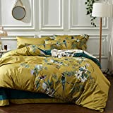mixinni Garden Style Cotton Flowers and Birds Pattern Printed Gold Duvet Cover Reversible Design Peacock Blue 3 Piece Bedding Duvet Set with Zipper Closure, Perfect for Him and Her-Queen Size