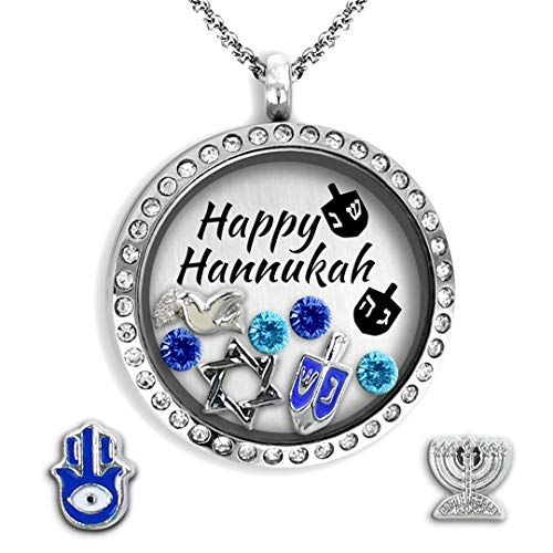 Hanukkah Necklace - Star Of David For Women With Jewish Charms The Best Of Jewish Necklace | Floating Locket Hebrew Necklace | Jewish Jewelry for women | Chai necklace | Life Necklace