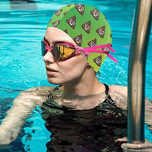 TDynasty Funny Poop Emoji Women Men Swim Cap Waterproof Ear Prote   ction Swimming Sports Hat