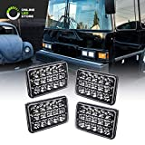4pc 4x6 LED Headlights [45W] [H4 Socket] [Black-Finish] [High/Low Sealed Beam] H4652 H4666 H6545 H6054 H4651 H4656 4x6 LED Headlight for Peterbilt Kenworth Trucks Ford Van & More