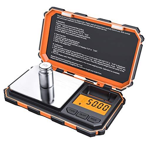 Criacr Báscula Digital, (200 x 0.01g) Báscula Digitales de Precisión con Peso de Calibración de 50g, Retroiluminación LCD, 6 Unidades, Función de Tara, Acero Inoxidable-Naranja