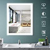 Aoorify 24 x 30 Inch Led Lighted Wall Mirror, Bathroom Vanity Mirror with Light, 5000K Daylight Dimmable Touch Switch Control, Memory Touch Button