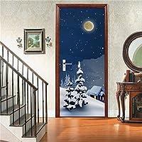 3Dドア壁画アートステッカー クリスマスの装飾の壁紙のポスタークリスマスの家の装飾の壁画のドアのステッカー