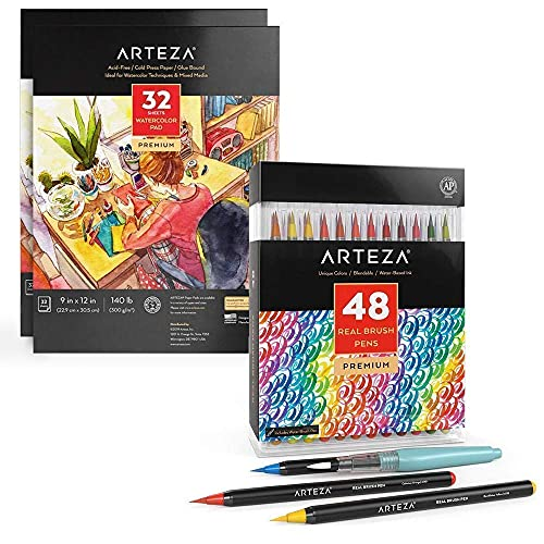 Arteza Real Brush Pens and Watercolor Paper bundle, Painting Art Supplies for Artist, Hobby Painters & Beginners