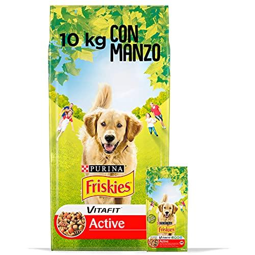 Purina Friskies Crocchette Cane Vitafit Active con Manzo, Confezione da 10 kg