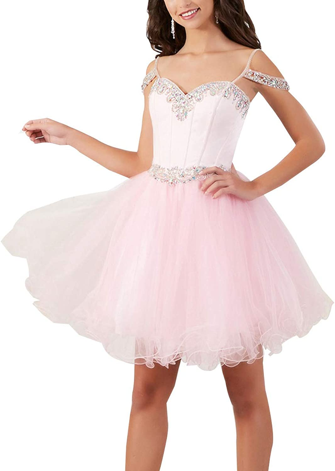 Homecoming Dress Spaghetti Strap Beaded Off Shoulder Tulle Short Prom Cocktail Gown
