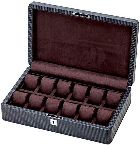 NBVCX Inicio Accesorios Caja de Reloj Organizador de Joyas con 12 Ranuras Vitrina de Fibra de Carbono 12 Almohadas de Almacenamiento de extracción Hebilla de Metal con Cerradura