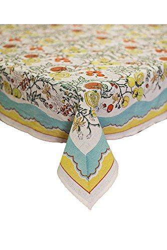"Petal Pushing Cotton Tablecloth, 68"" L x 108"" W, Hand, Printed, Tomato, Vineyard"