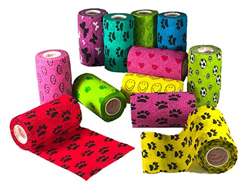 Prairie Horse Supply 4 Inch Vet Wrap Tape Bulk (Black, Red, Yellow and Black Paw Prints on Yellow, Red, Teal) (Pack of 24) Self Adhesive Adherent Adhering Flex Bandage Rap Grip Roll for Dog Cat Pet