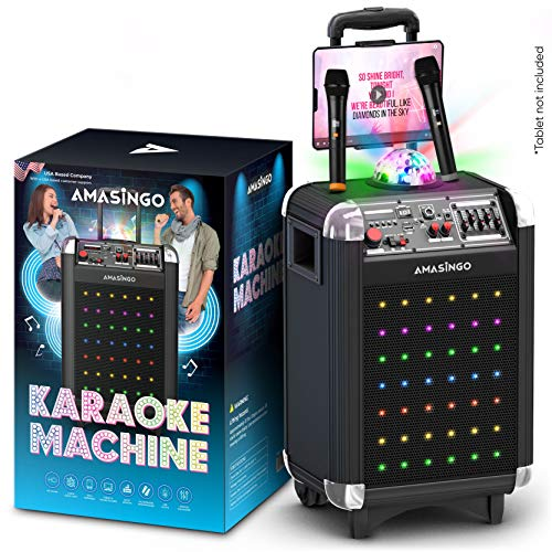 Karaoke Machine for Adults and Kids, Bluetooth Portable Singing PA Speaker System + 2 Wireless Dual Microphones + Disco Lights + TV cable. Best Birthday Gift for Boys & Girls (Soprano, X1 Black)