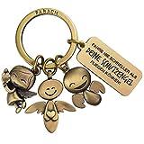 FABACH Llavero de ángel la guarda con grabado – metal para coche mensaje conductores, regalo amuleto suerte coche, carné conducir, tu guarda, bronce (Marrón) - FB_3ENGEL_B_FNSAD