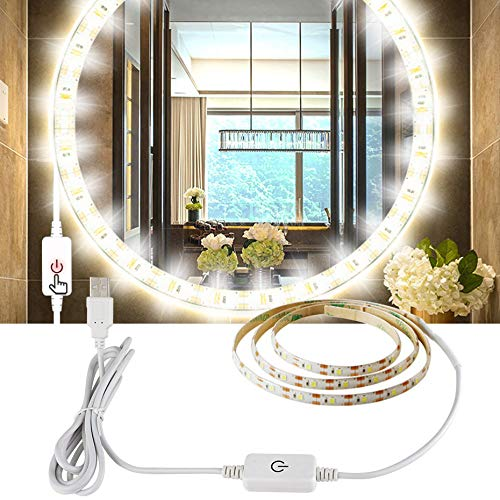 Tira de LED USB 5V interruptor táctil impermeable tira de luz de 0.5m-5m Decoración Bande Luces LED para el espejo Baño de mesa de dessing (Color : Cold White)