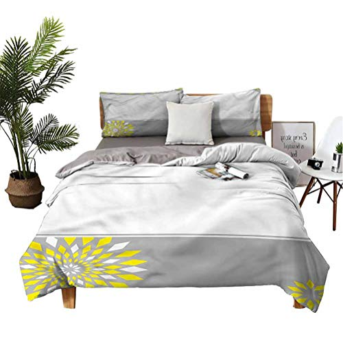 Grey and Yellow 3-Piece Bedsheets and Pillowcases Border with Flowers Comfortable Soft Quilt Cover Twin