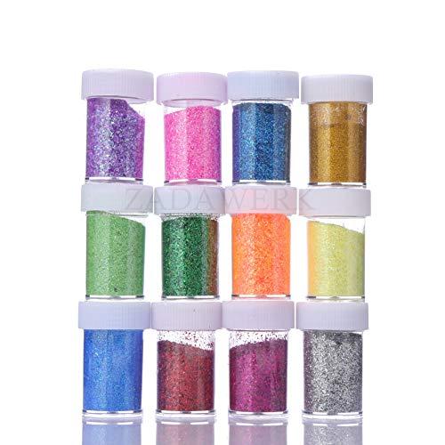 ZADAWERK Glitzerpulver - Neon - 32 ml je Farbe - 12 Farben - Streudose - Set