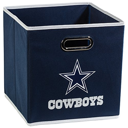 Franklin Sports NFL Dallas Cowboys Collapsible Storage Bin - NFL Folding Cube Storage Container - Fits Bin Organizers - Fabric NFL Team Storage Cubes