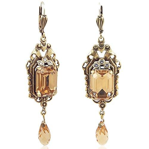 Jugendstil Ohrringe mit Kristallen von Swarovski Gold Braun NOBEL SCHMUCK